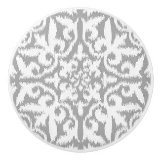 Ikat damask pattern - silver grey and white ceramic knob