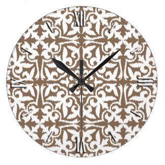 Ikat damask pattern - Taupe Tan and White Wall Clock