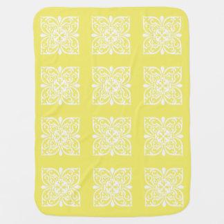 Ikat damask pattern - yellow and white receiving blanket