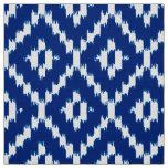 Ikat Diamond Pattern - Cobalt blue and white Fabric