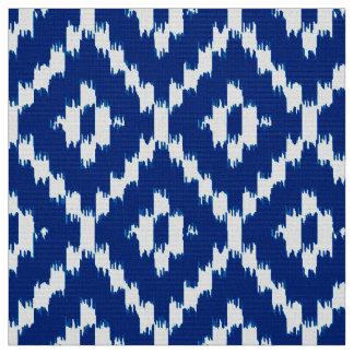 Ikat Diamond Pattern - Cobalt blue and white Fabric
