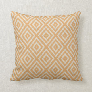 Ikat Diamond Pattern in Apricot and Cream Throw Pillow