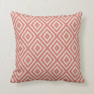 Ikat Diamond Pattern in Coral Pink and Cream Throw Pillow