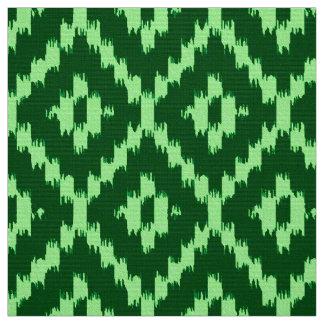 Ikat Diamond Pattern - Pine green and mint green Fabric