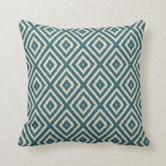 Ikat Diamond pattern Teal and Cream Throw Pillow