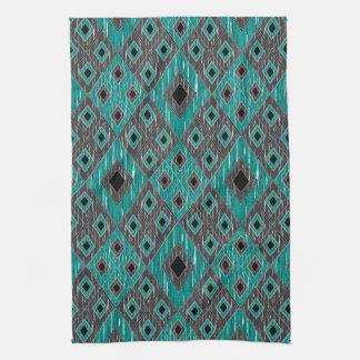 Ikat Diamond Pattern - Teal Black Kitchen Towel