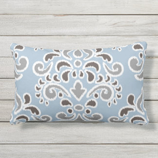 Ikat Floral Damask Blue Brown Gray Lumbar Pillow