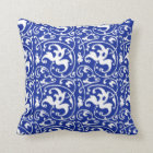 Ikat Floral Damask - Cobalt Blue and White Throw Pillow