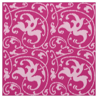 Ikat Floral Damask - Fuchsia and Pale Pink Fabric