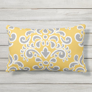 Ikat Floral Damask Grey and Yellow Lumbar Pillow