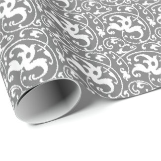Ikat Floral Damask - Grey / Gray and White Wrapping Paper