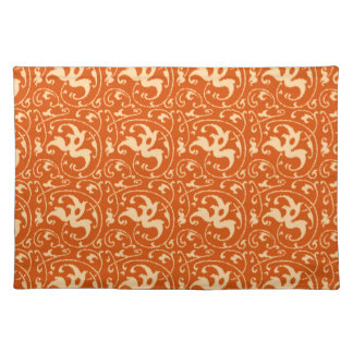 Ikat Floral Damask - Mandarin Orange Placemat