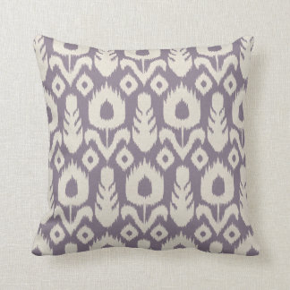 Ikat Floral Pattern in Lavender and Natural Throw Pillow