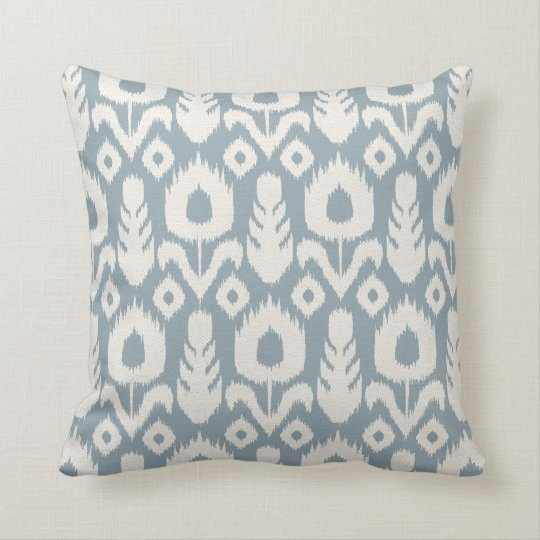 Ikat Floral Pattern Light Blue and Natural Throw Pillow
