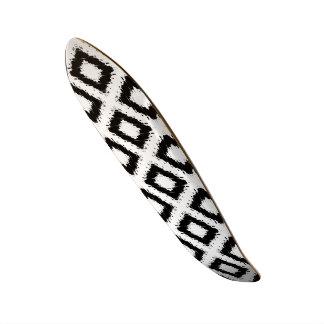 Ikat Inspired Black and White Diamond Skate Board Decks