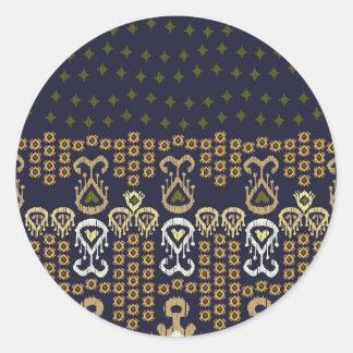 Ikat Modern Border Round Sticker