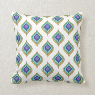 IKAT Modern Vintage Peacock Feather Eye Patterned Throw Pillow