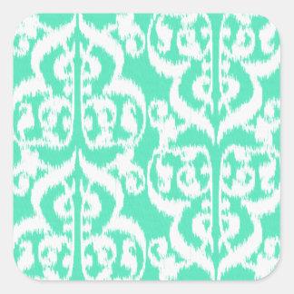 Ikat Moorish Damask - aqua and white Square Sticker