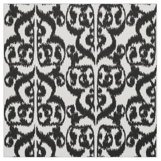 Ikat Moorish Damask - black and white Fabric