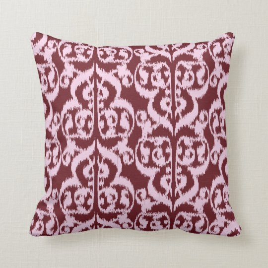 Ikat Moorish Damask - burgundy and pink Throw Pillow