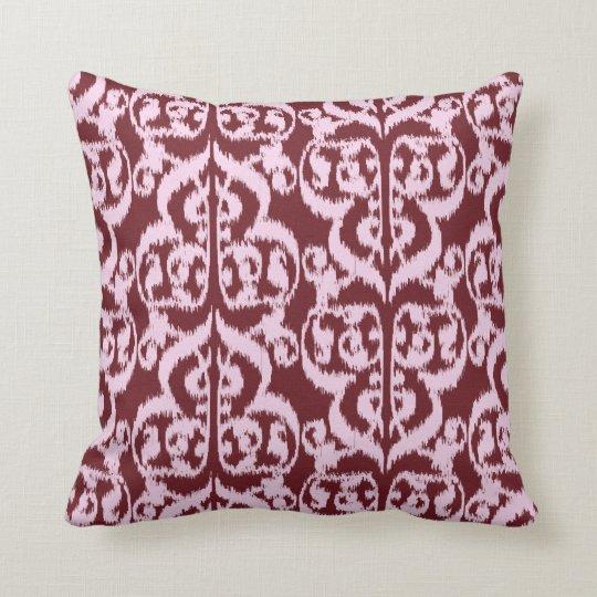 Ikat Moorish Damask - burgundy and pink Throw Pillow
