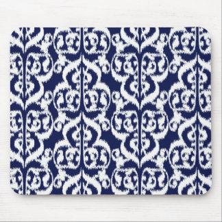 Ikat Moorish Damask - indigo and white Mouse Pad