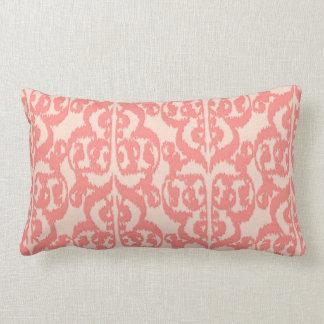 Ikat Moorish Damask - peach and coral pink Lumbar Pillow