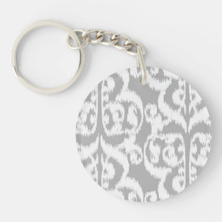 Ikat Moorish Damask - silver gray and white Keychain