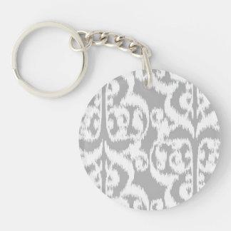 Ikat Moorish Damask - silver gray and white Single-Sided Round Acrylic Keychain