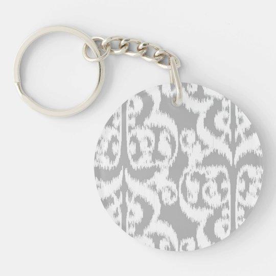 Ikat Moorish Damask - silver grey and white Single-Sided Round Acrylic Keychain