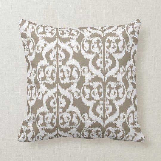 Ikat Moorish Damask - taupe tan and white Throw Pillow