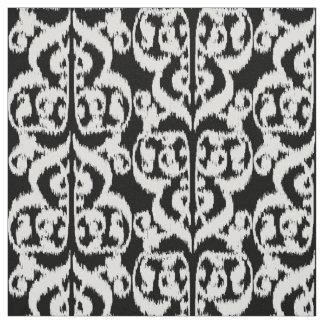 Ikat Moorish Damask - white and black Fabric
