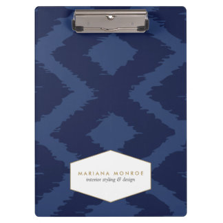 Ikat Pattern in Blue Designer Clipboard