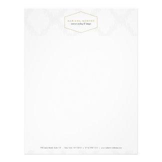 Ikat Pattern in Gray/White Designer Letterhead