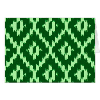 Ikat pattern - Pine green and pale green Greeting Card