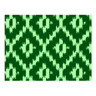 Ikat pattern - Pine green and pale green Postcard