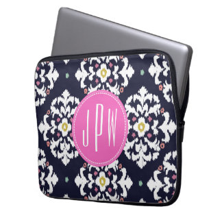 Ikat & Pink Monogram Laptop Computer Sleeves