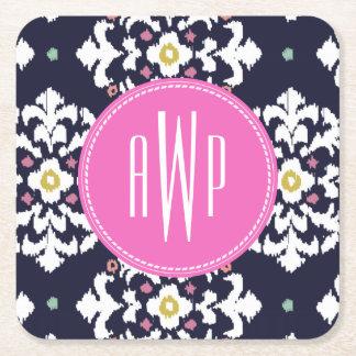 Ikat + Pink Monogram Square Paper Coaster
