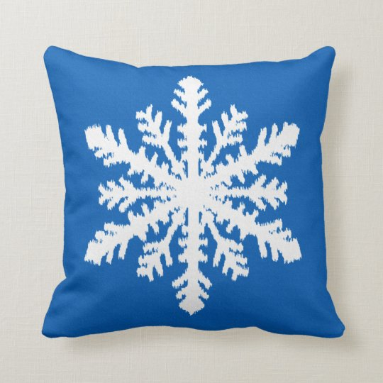 Ikat Snowflake - Cobalt blue and white Throw Pillow