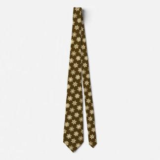Ikat Snowflakes - Beige and Chocolate Brown Tie