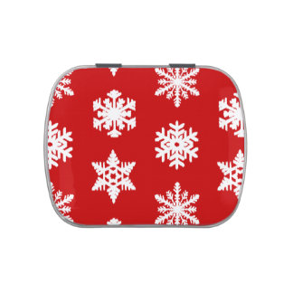 Ikat Snowflakes - Dark red and white