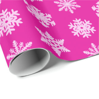 Ikat Snowflakes - Fuchsia and ice pink Wrapping Paper
