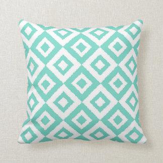 Ikat Squared Diamond Turquoise Throw Pillow