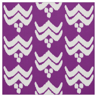 Ikat stylized floral - amethyst purple and white fabric