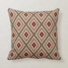 Ikat Tribal Diamond Pattern Khaki Red Tan Throw Pillow