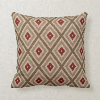 Ikat Tribal Diamond Pattern Khaki Red Tan Throw Pillow