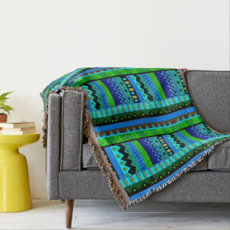 Ikat Tribal Inspired Throw Blanket