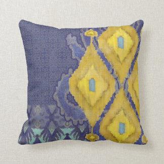 IKAT Uzbekistan Antique Tribal Pattern Navy Yellow Throw Pillow