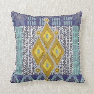 IKAT Uzbekistan Vintage Tribal Pattern Navy Yellow Throw Pillow