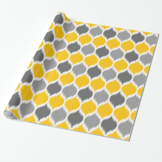 Ikat Weave Motif Yellow and Grey Wrapping Paper